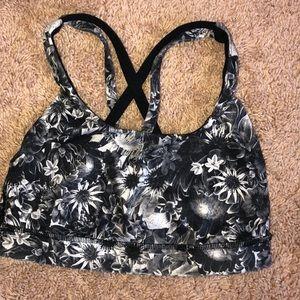 Floral White and Black Lululemon Bra Size 4